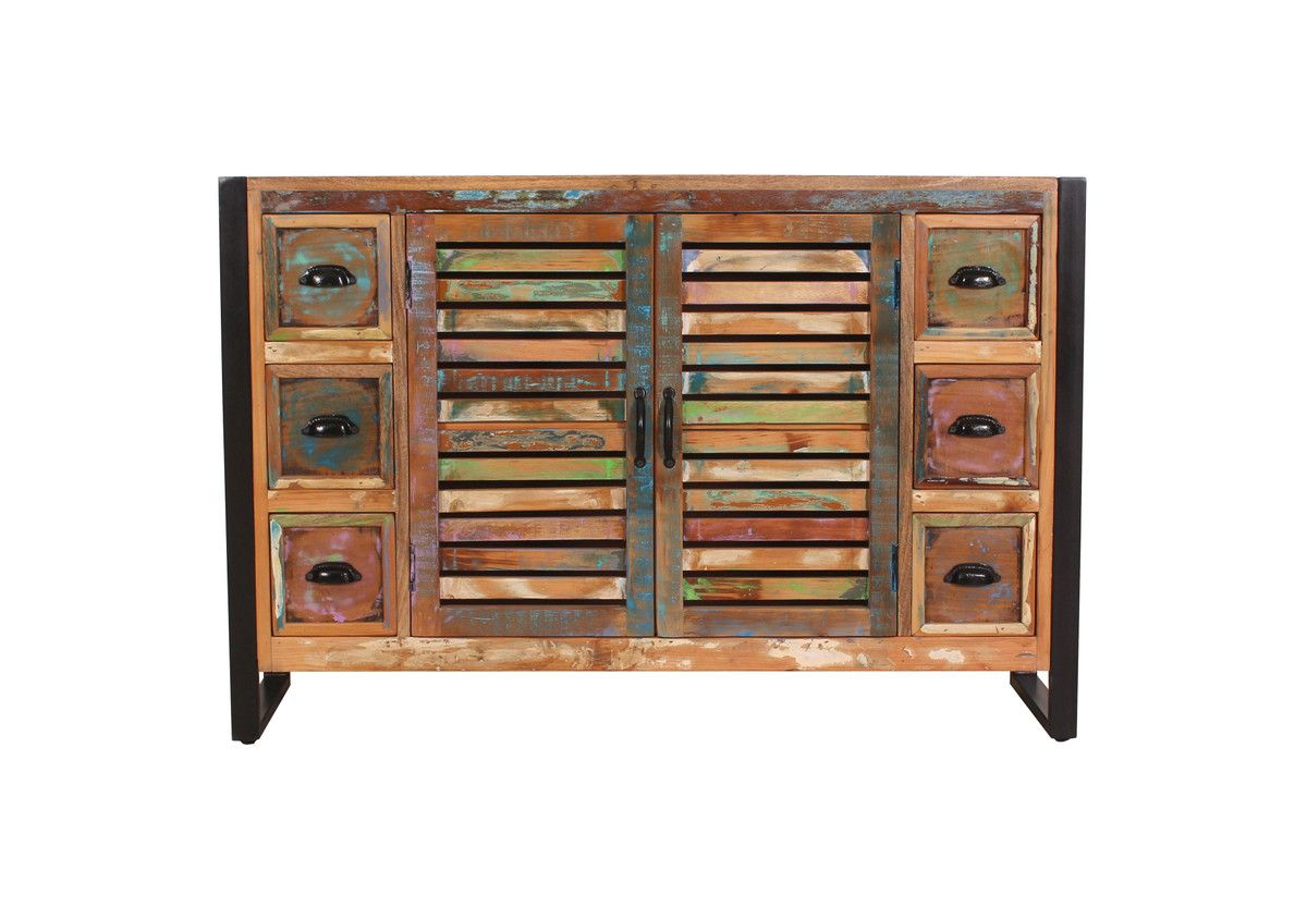 FIUME Sideboard Recyceltes Altholz Metall Bunt Bild 1