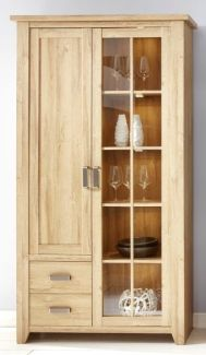 Vitrine Highboard Canyon hoch | Alteiche Holz Design | LED Beleuchtung