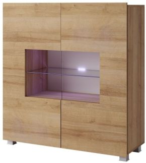 Highboard Schrank 'KAVOS' in Gold Eiche inkl. LED Beleuchtung