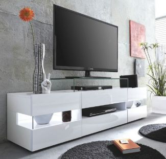 Lowboard TV-Schrank Sonic | Glanz weiß | LED Beleuchtung | 169 cm