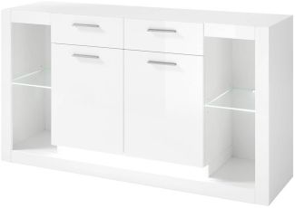 Sideboard in Hochglanz weiß MAILAND-61 inkl. LED-Beleuchtung B/H/T: 150/83/43cm