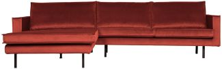 BePureHome Rodeo Chaise Longue Links Samt Kastanie