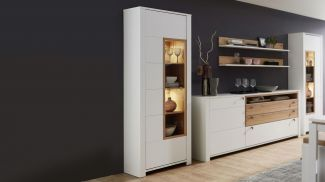 Innostyle SERPIO Vitrine Highboard weiß matt Wildeiche teilmassiv LED