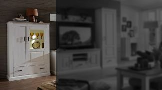 Vitrine mit LED 'LIMA' Highboard in Pinie hell Taupe