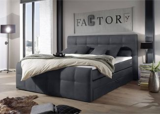 Boxspringbett 180x200 cm inklusive Bettkasten SACRAMENTO-09 in der Farbe Anthrazit, 4 cm Visco 5018-Topper
