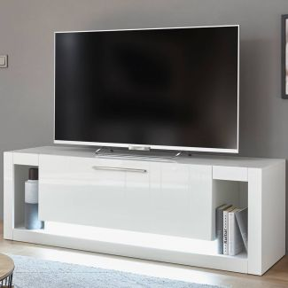 TV Lowboard MAILAND-61 in Hochglanz weiß inkl. LED-Beleuchtung, B/H/T: 150/49/43cm