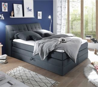 Boxspringbett 180x200 cm inklusive Bettkasten SALONA3-09 in Linea 19 steel grey